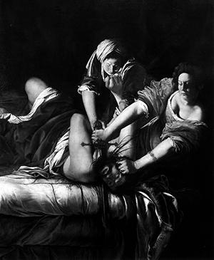 Fig. 4. Artemisia Gentileschi detalle de Judith decapitando a Holofernes, 1620-21, Galería de los Ufizzi, Florencia.