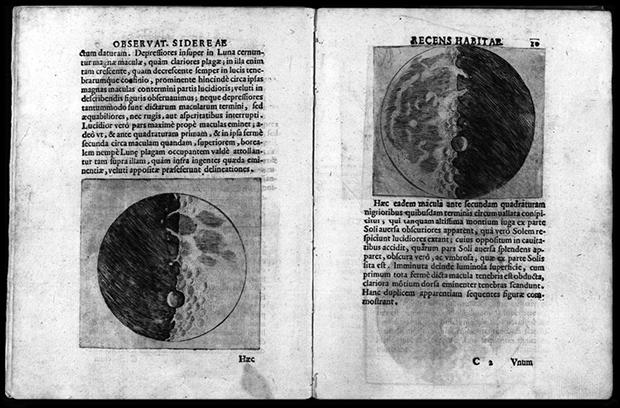 Fig. 2. Páginas del libro de Galileo Sidereus nuncius, 1610.