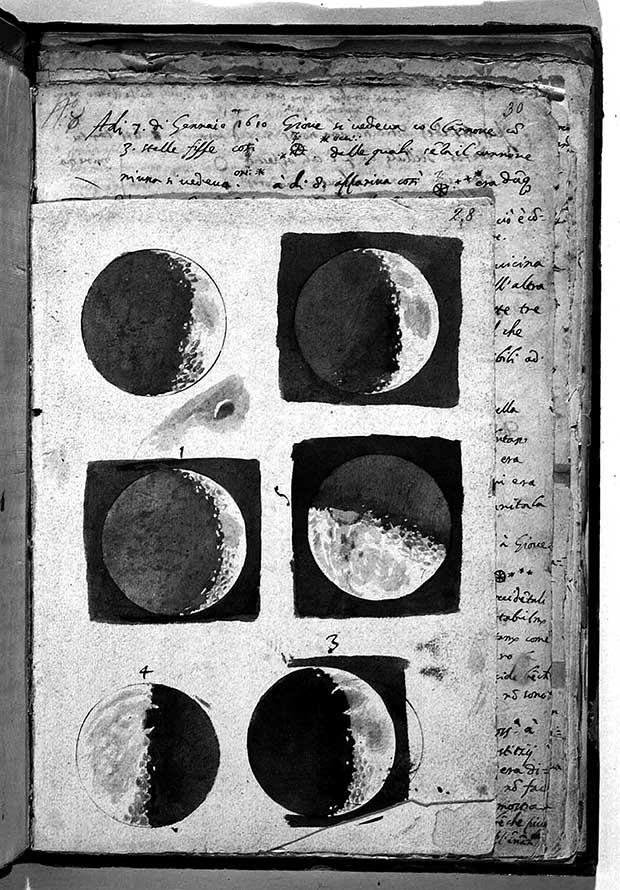 Fig.1. Galileo, acuarelas de la Luna en el manuscrito de Sidereus nuncius, 1609