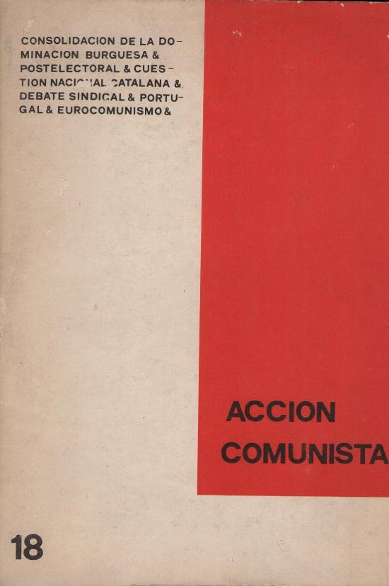 Portada del nº 18 de la revista Acción Comunista