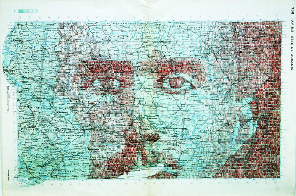 Gonzalo Elvira. S.R. 009. Tinta sobre mapa, 31,5 x 47 cm